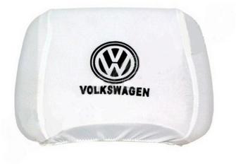 Чехлы, майки, маечки на подголовники белого цвета с логотипом марки автомоб